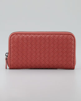 Bottega Veneta Woven Leather Continental Wallet, Coral