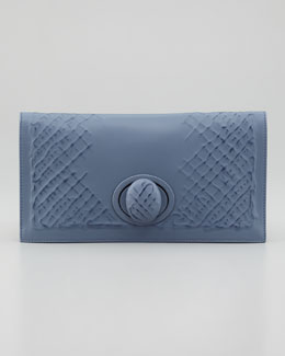 Bottega Veneta Ricamo Rete Fold-Over Clutch, Blue