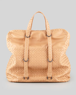 Bottega Veneta Ringed Strap Satchel Bag, Beige