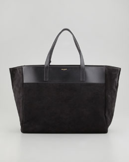 Saint Laurent Reversible Leather/Suede East-West Tote Bag, Black