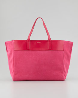 Saint Laurent Reversible Leather/Suede East-West Tote Bag, Fuchsia