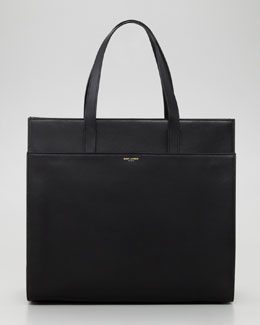 Saint Laurent Flat Shopping Tote Bag, Black
