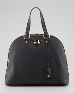 Saint Laurent Muse Large Domed Satchel Bag, Black