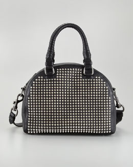Christian Louboutin Panettone Small Studded Satchel Bag, Black