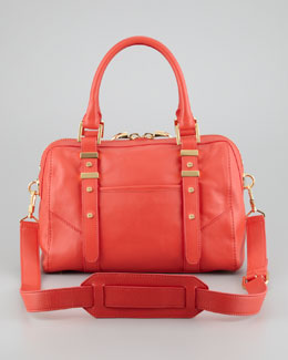 Rachel Zoe Lee Medium Leather Satchel Bag, Salmon