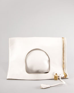 Tom Ford Alix Fold-Over Bag, Ivory