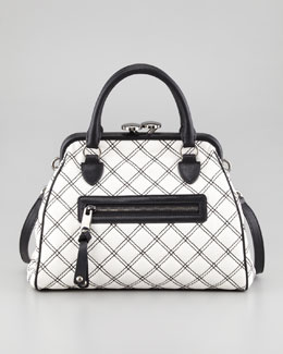 Marc Jacobs Mini Stam Satchel, White/Black