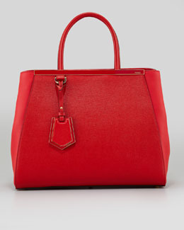Fendi 2Jours Saffiano Medium Tote Bag, Red