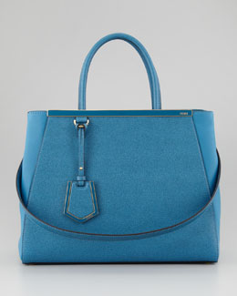 Fendi 2Jours Vitello Elite Medium Tote Bag, Turq
