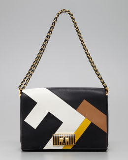 Fendi Claudia FF Leather Shoulder Bag, Black/Multicolor