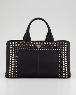 Prada Studded Canvas Gardener's Tote Bag