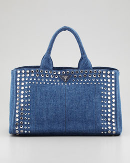 Prada Studded Denim Gardener's Tote Bag, Blue