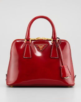Prada Spazzolato Promenade Satchel Bag, Red