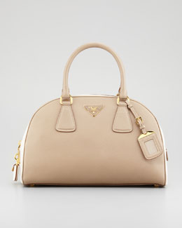 Prada Saffiano Lux Bi-Color Bowler Bag