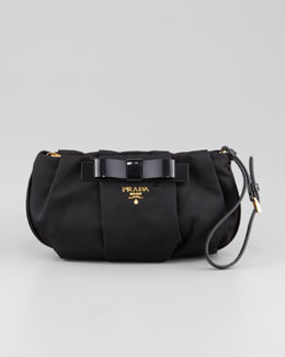 Prada Tessuto Bow Wristlet Bag, Black