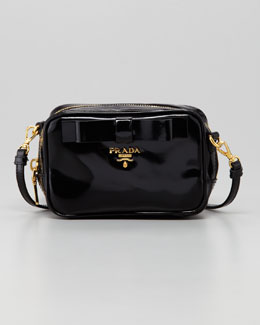 Prada Spazzolato Bow Crossbody Bag, Black