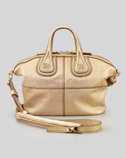 Givenchy Nightingale Metallic Micro Satchel Bag, Gold