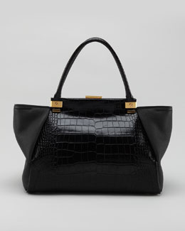 Lanvin Trilogy Calfskin Tote Bag, Black