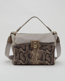 Lanvin For Me Snake-Embossed Medium Bag, Gray