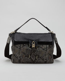 Lanvin For Me Snake-Embossed Medium Bag, Black