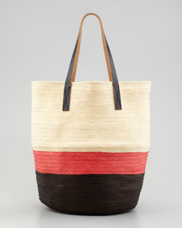 Marni Colorblock Straw Tote Bag