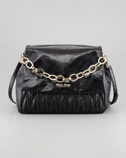Miu Miu Matelasse Lux Chain Shoulder Bag, Black
