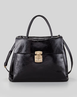 Miu Miu Vitello Four-Pocket Tote Bag, Black