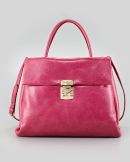 Miu Miu Vitello Four-Pocket Tote Bag, Pink