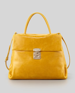 Miu Miu Vitello Four-Pocket Tote Bag, Yellow