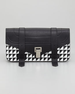 Proenza Schouler PS1 Pouchette Triangle-Print Clutch Bag, Black/White