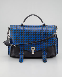 Proenza Schouler PS1 Triangle-Print Medium Satchel Bag, Blue/Black