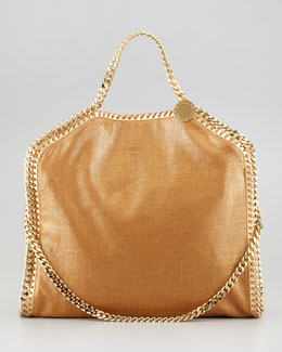 Stella McCartney Metallic Fold-Over Falabella Shoulder Bag, Gold