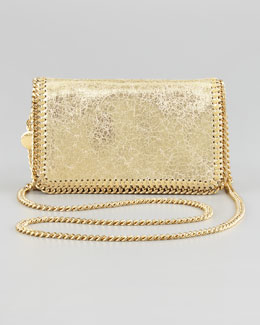 Stella McCartney Crackled Metallic Crossbody Bag, Platinum
