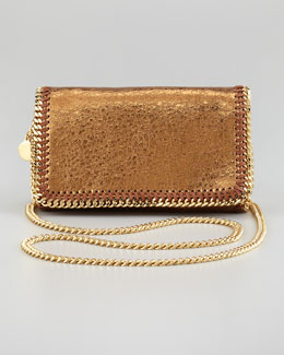 Stella McCartney Crackled Metallic Crossbody Bag, Bronze