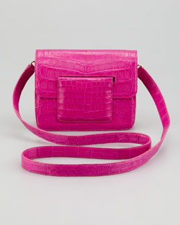 Nancy Gonzalez Front-Flap Crocodile Crossbody Bag, Pink