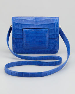 Nancy Gonzalez Front-Flap Crocodile Crossbody Bag, Blue