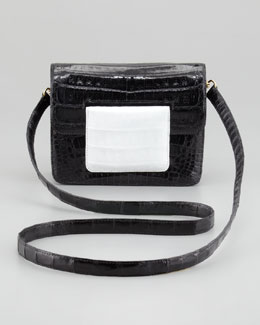 Nancy Gonzalez Front-Flap Crocodile Crossbody Bag, Black/White