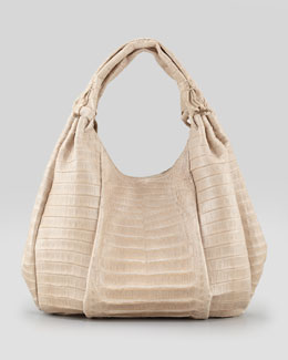 Nancy Gonzalez Pleated Crocodile Hobo Bag, Sand