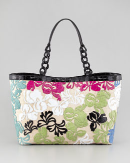 Nancy Gonzalez Crocodile Floral Applique Tote Bag
