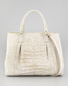 Nancy Gonzalez Executive Double-Zip Crocodile Tote Bag, White