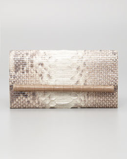 Nancy Gonzalez Crocodile & Glitter Python Clutch Bag, Natural