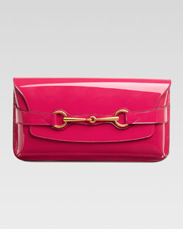 Gucci Bright Bit Patent Leather Clutch Bag, Pink