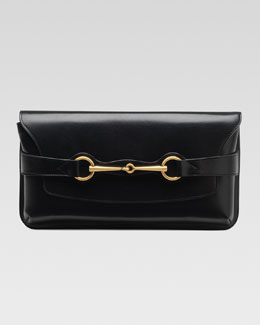Gucci Bright Bit Leather Clutch Bag, Black