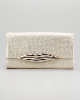 Diane von Furstenberg Carolina Metallic Canvas Lips Clutch Bag, Gold