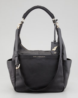 Diane von Furstenberg Franco Leather Hobo Bag, Black