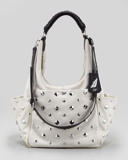 Diane von Furstenberg Franco Studded Hobo Bag, Open Off White