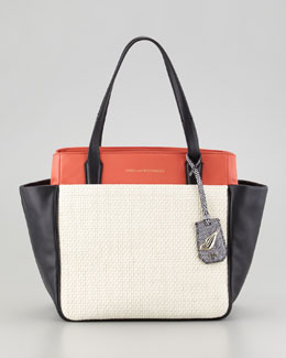 Diane von Furstenberg On the Go Raffia and Leather Colorblock Tote Bag