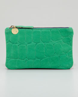 Clare Vivier Tortoise-Embossed Leather Wallet Clutch