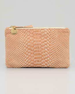 Clare Vivier Snake-Embossed Leather Wallet Clutch