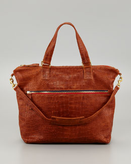 Clare Vivier Crocodile-Embossed Lambskin Satchel Bag